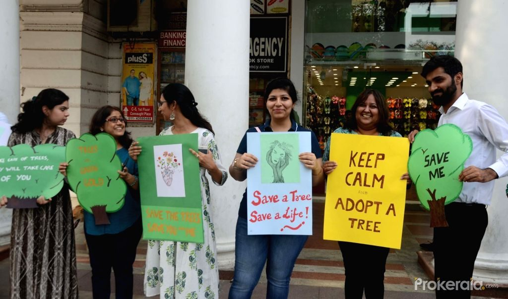 Human Chain save tree awareness campaign