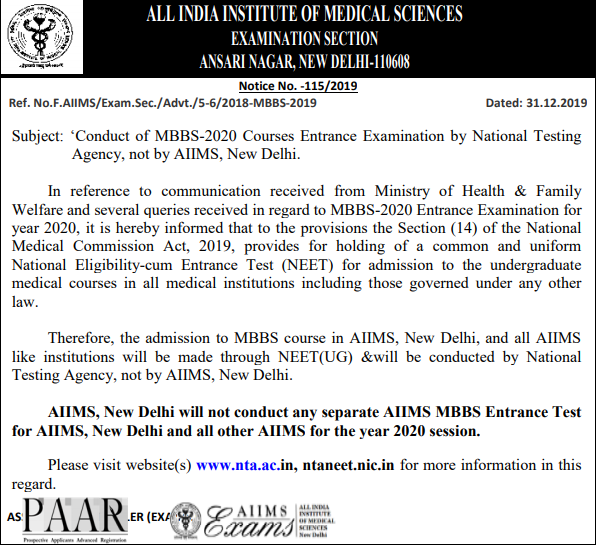 AIIMS Through NEET 2020